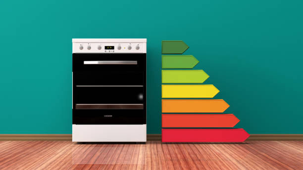 electric oven and energy efficiency rating. 3d illustration - energy performance certificate stock photos and pictures
