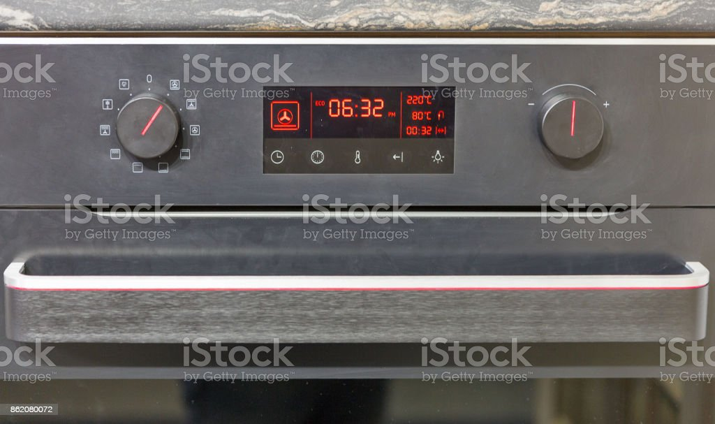 electric oven display closeup stock photo