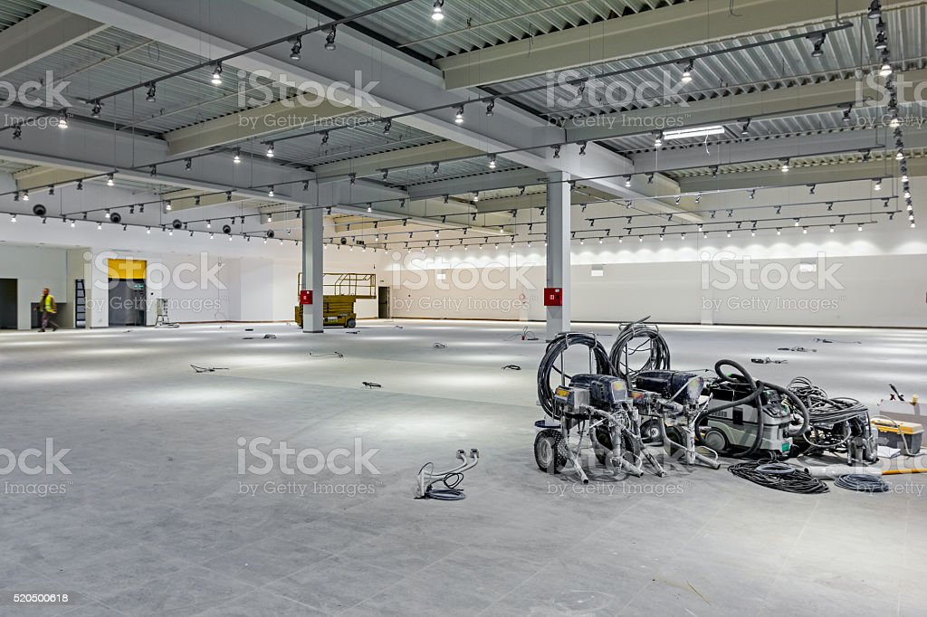 Electric paint spraying equipment. stock photo