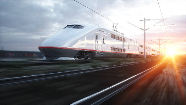 Electric passenger train. Very fast driving. journey and travel concept. 3d rendering. stock photo