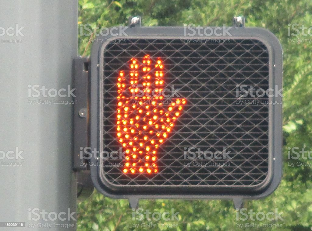 Electric Pedestrian Crosswalk Don't-Walk Signal royalty-free stock photo