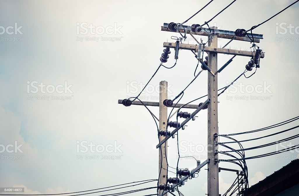 Electric pillar with transformer in the electric network stock photo