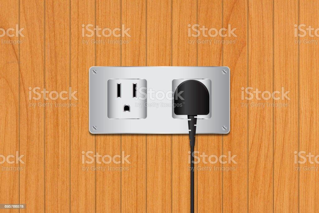 Electric plug on wood background stock photo