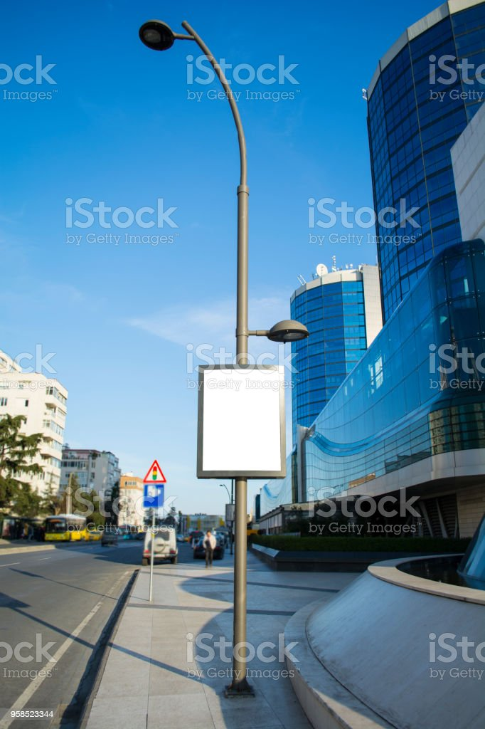 electric pole and advertising stock photo