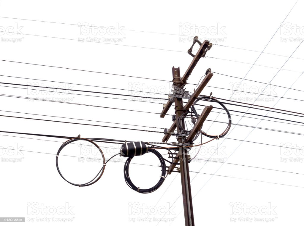 Electric Pole Made Of Wood And Steel For Install New Cable With ...