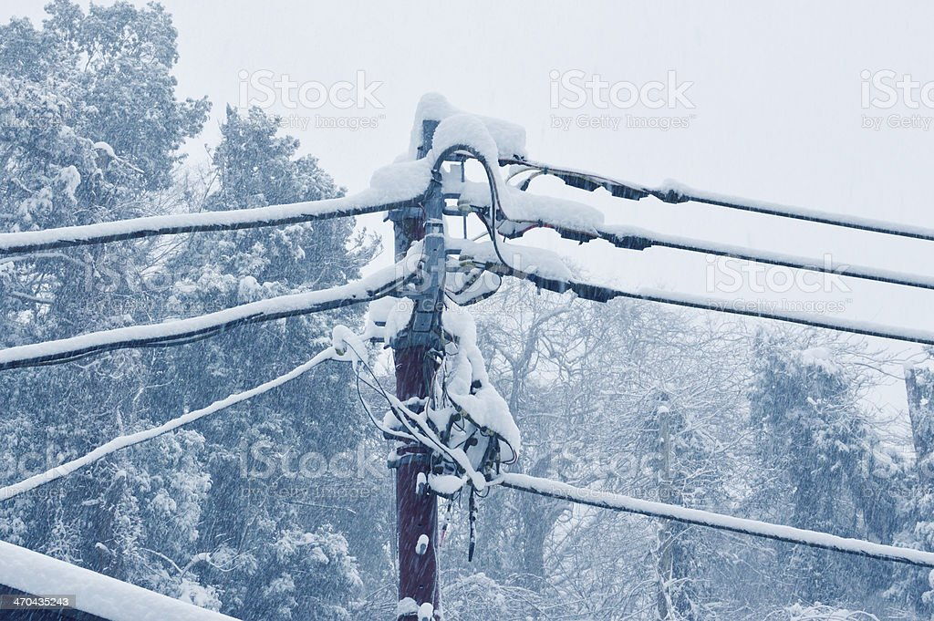 Electric pole to endure The telegraph pole in a snow day. Blizzard Stock Photo