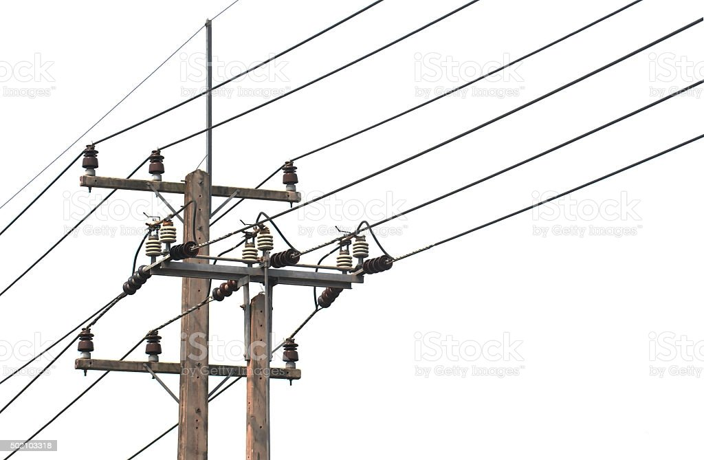 Electric Pole Wires On White Background Stock Photo & More Pictures ...