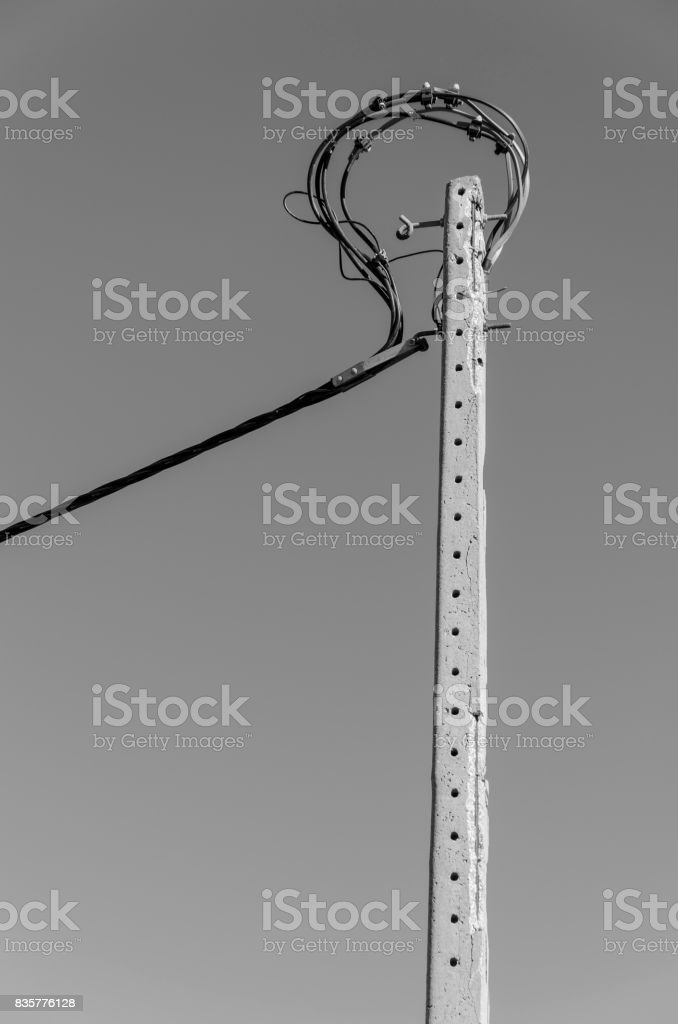 electric pole with loop stock photo