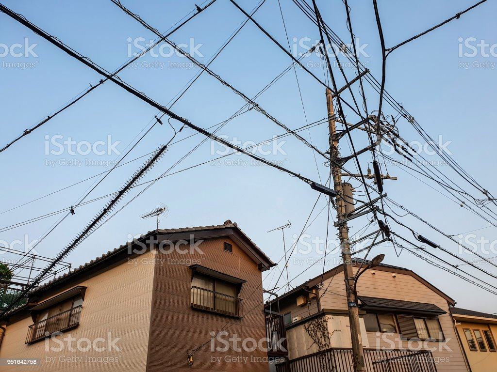 Electric Poles And Wires Above Small Suburban Houses In The Suburbs Electrical Wiring Of Tokyo City Royalty