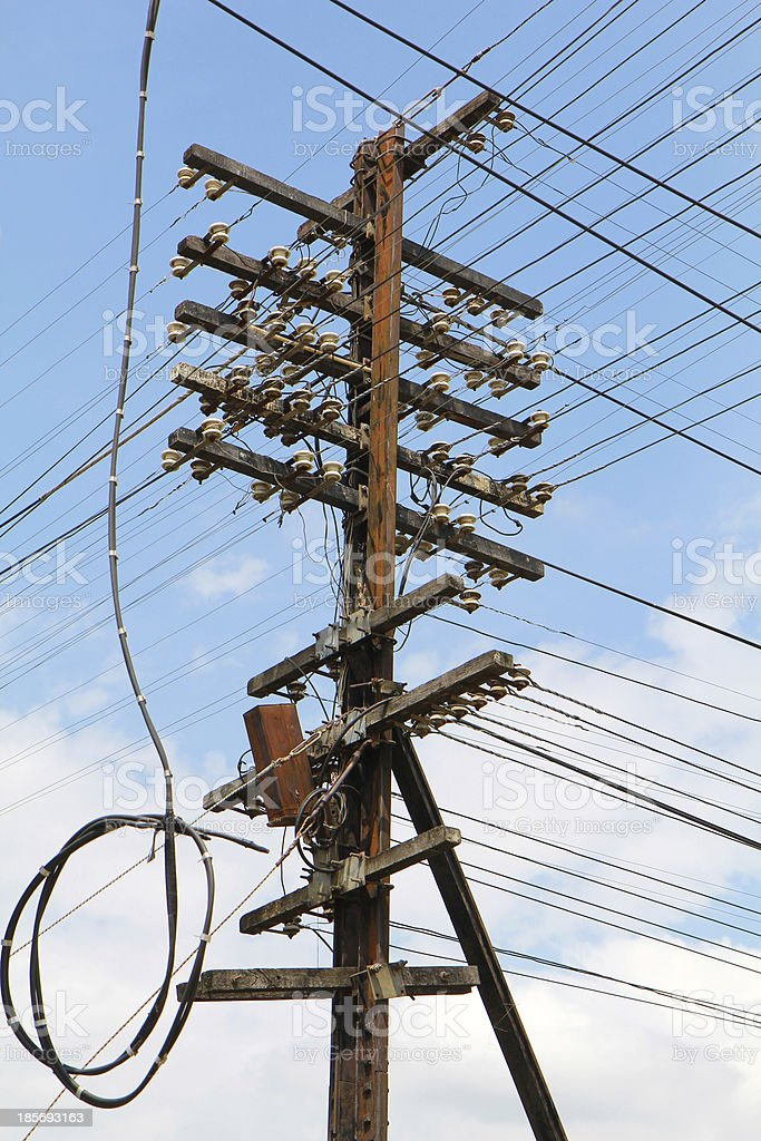 Electric poles and wires. royalty-free stock photo