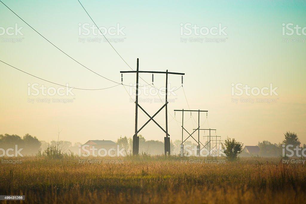 Electric post stock photo