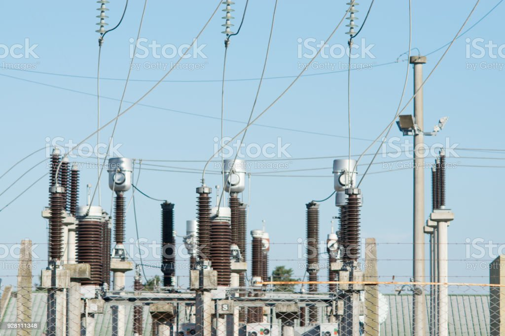 Electric post power-plant transformer station