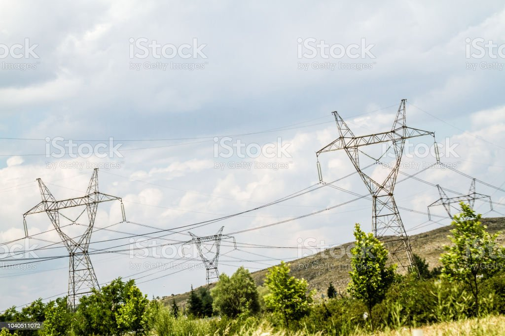 Electric Power Distribution Lines with Cement Concrete Pole stock photo