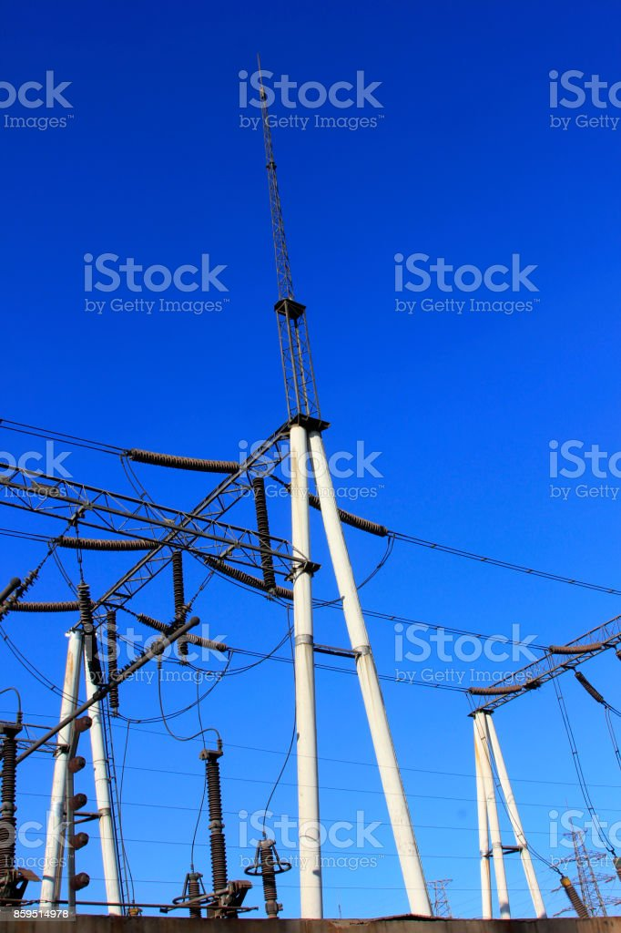 Electric power equipment in a substation, closeup of photo stock photo