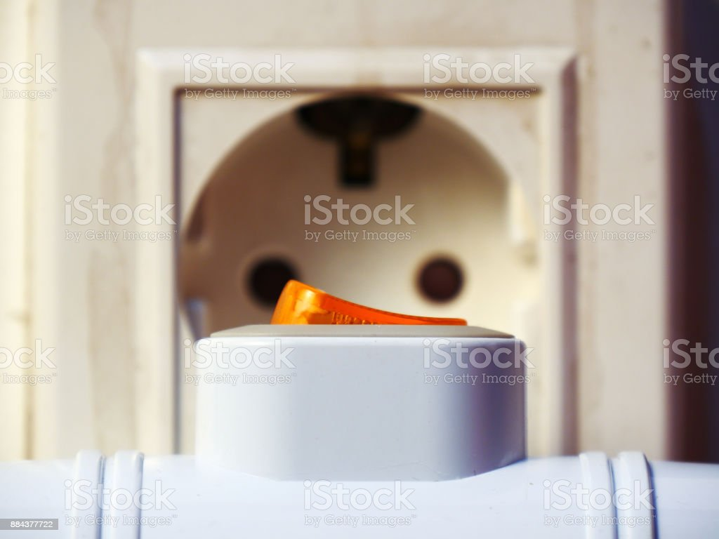 Electric power extension switch stock photo