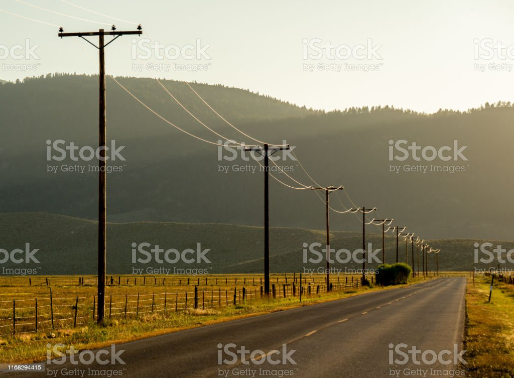 Electric wires part of a power distribution system illuminated,...