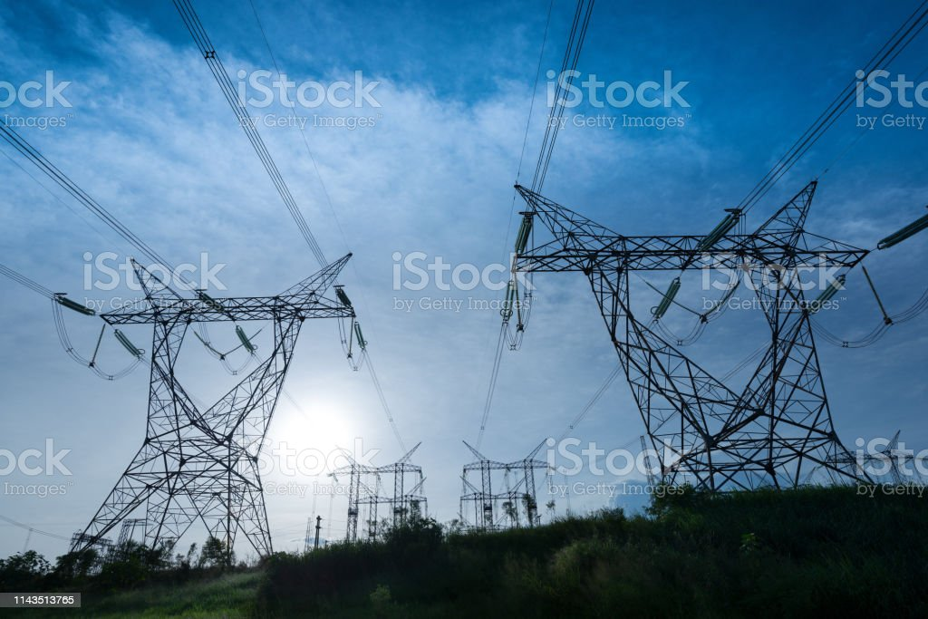 Electric power lines coming out from a substation at Foz do Iguazu,...