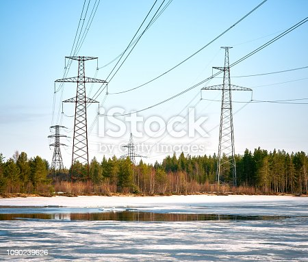 Electric power lines, nature, sky