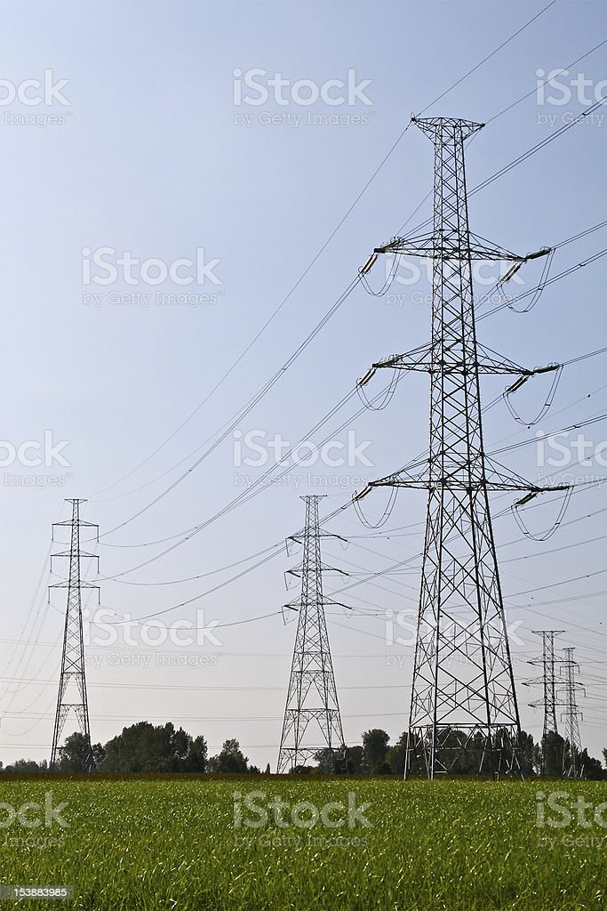 Electric power lines royalty-free stock photo