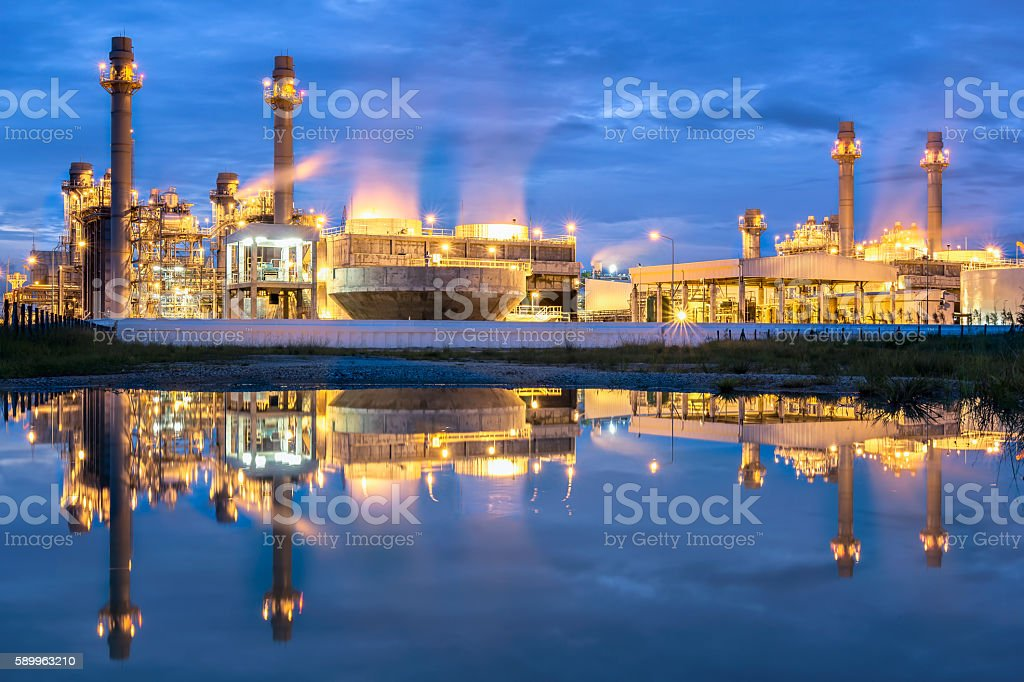 Electric power plant reflection stock photo