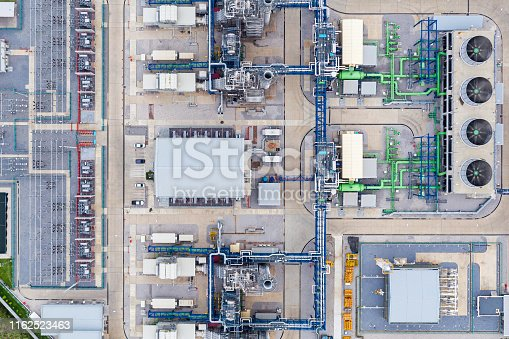 Aerial view Electric power plant substation, Export-oriented manufacturing paper packaging and corrugated industry
