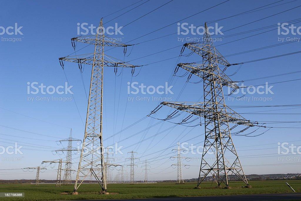 electric power poles stock photo