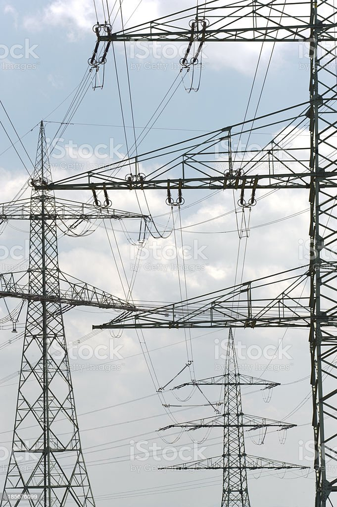 electric power poles royalty-free stock photo