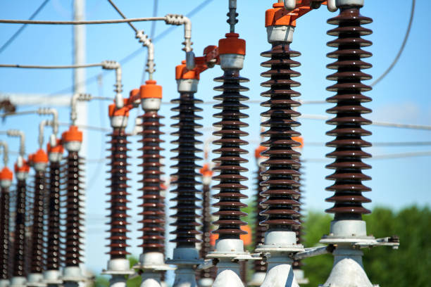 Electric power station Detail of High voltage power transformer in substation electricity transformer stock pictures, royalty-free photos & images