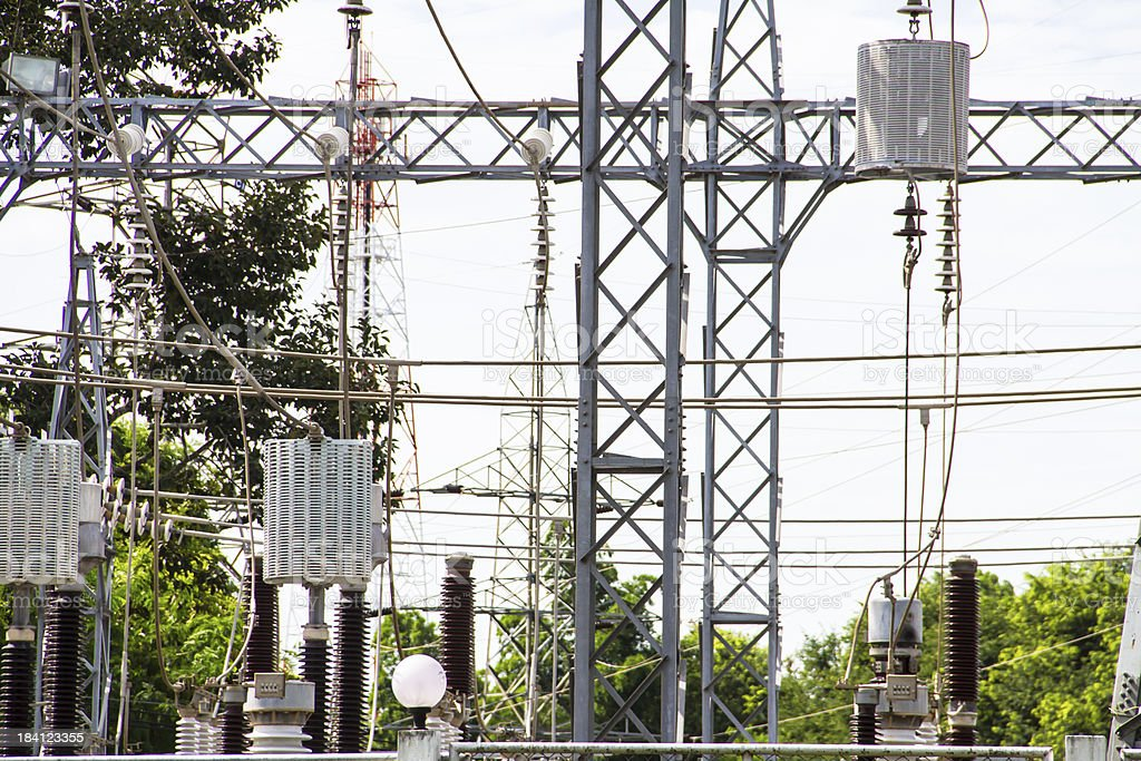 Electric power station with poles cables and powerful transformers royalty-free stock photo