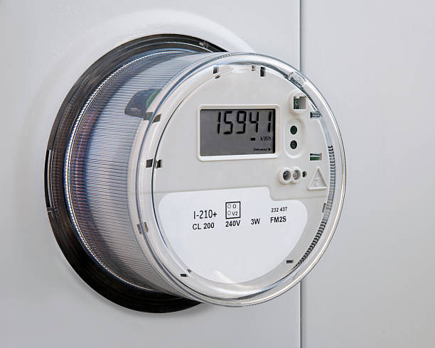 electric power utility-meter - messgerät stock-fotos und bilder