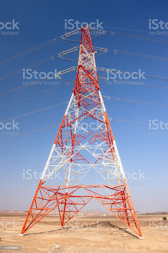Electric powerline in Oman royalty-free stock photo