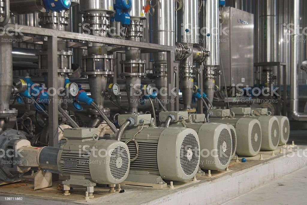 Electric pumps on a row. stock photo