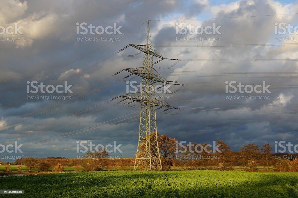 electric pylon on green field in evening sun stock photo