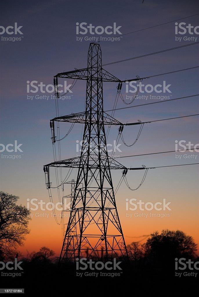 Electric Pylons. stock photo