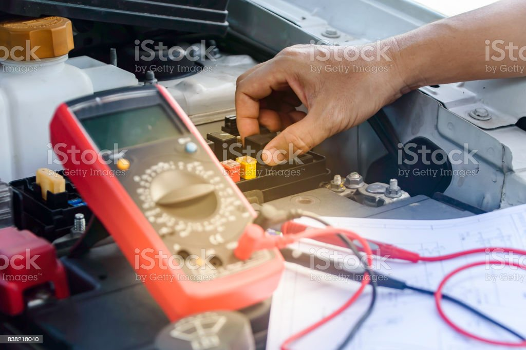 Electric Repair Repair Of Electrical Wiring In The Car Stock ... on