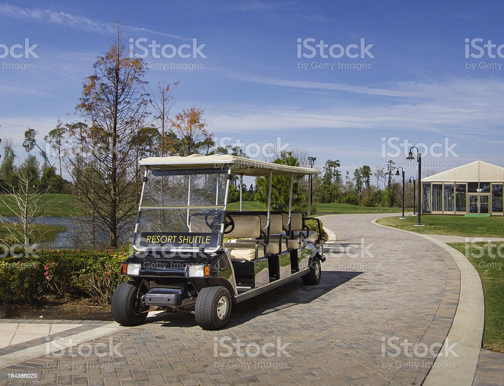 Electric Resort Shuttle stock photo