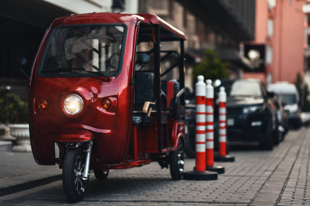 electric rickshaw stock photo