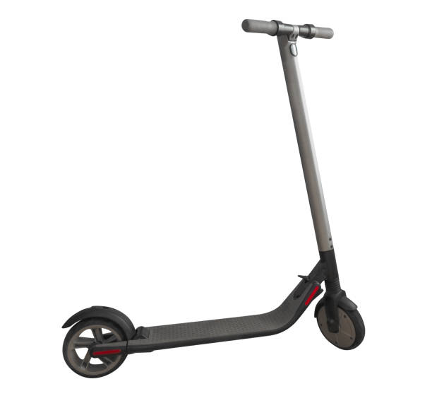electric scooter isolated - electric push scooter stock photos and pictures