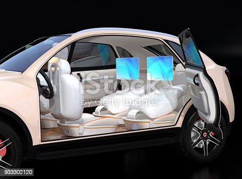 istock Electric self-driving SUV car interior design 933302120