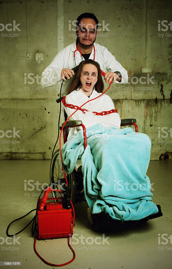 Electric shock therapy stock photo