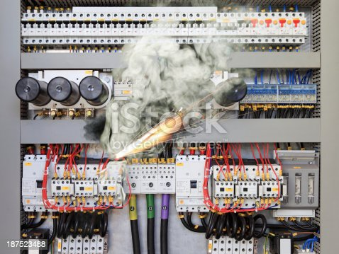 istock Electric shock with sparks and steam 187523488