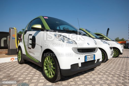 Riccione, Italy - August 4, 2011: Some Electric Smart microcars with Eni power set. Smart is a German manufacturer of microcars and Eni is the most important italian power company. The photograph was taken during the Smart Times 2011, an event managed by Smart for the first time in Italy.