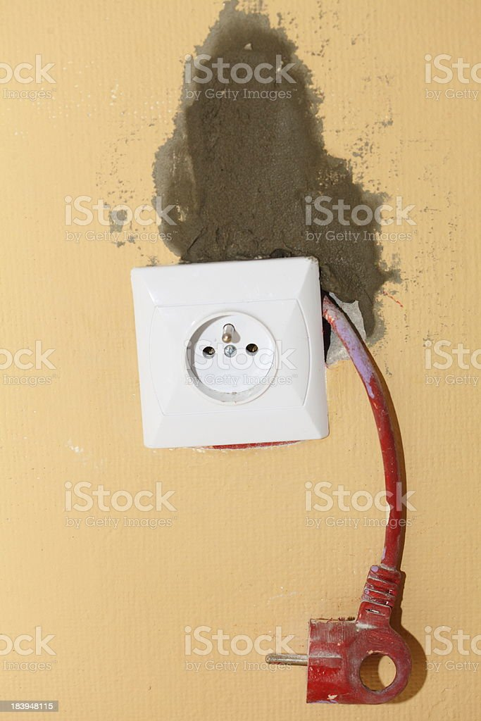 Electric socket in construction site royalty-free stock photo