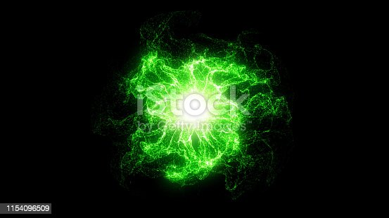 Bright sphere made of particles on black background. Digitally generated image