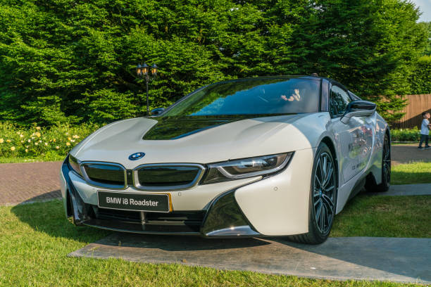 Electric sportscar Amsterdam, The Netherlands - June 3th 2018: Electric BMW with Moet chandon advertising outside Dutch Food festival in the Amstelpark in Amsterdam moët & chandon stock pictures, royalty-free photos & images