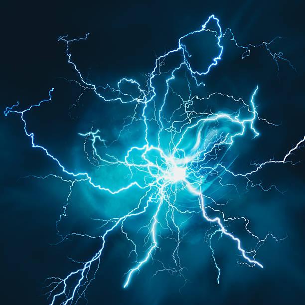 エレクトリックストームます。抽象的な科学電力業界の背景 - 雷 ストックフォトと画像