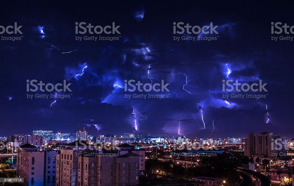 Electric Storm over Miami stock photo
