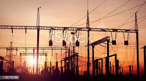Power substation and pylons with power lines. This image created from multiple images for the better quality