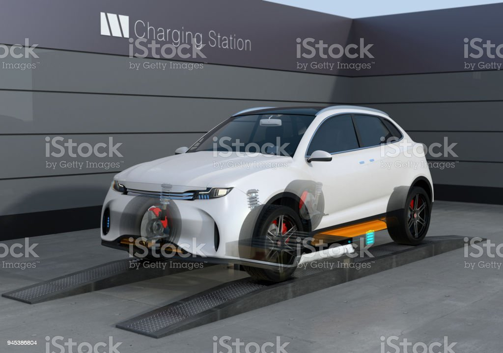 Electric SUV car exchange low battery in battery swapping station stock photo