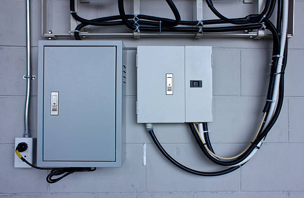 electric system in cabinet  building system - fuse box stock photos and pictures